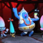 (from left) Legsly (Ester Dean), Guy Diamond (Kunal Nayyar), Smidge (Walt Dohrn), Biggie (James Corden), Mr. Dinkles (Kevin Michael Richardson), Satin (Aino Jawo) and Chenille (Caroline Hjelt) in DreamWorks Animation's Trolls World Tour, directed by Walt Dohrn.