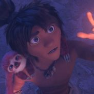 Guy (Ryan Reynolds) and his pet sloth Belt in DreamWorks Animation's The Croods: A New Age, directed by Joel Crawford.