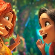 (from left) Eep Crood (Emma Stone) and Dawn Betterman (Kelly Marie Tran) in DreamWorks Animation's The Croods: A New Age, directed by Joel Crawford.