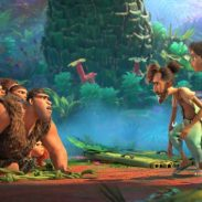 The Croods (left) meet The Bettermans (right) in DreamWorks Animation's The Croods: A New Age, directed by Joel Crawford. The Croods (from left): Thunk (Clark Duke), Gran (Cloris Leachman), Sandy (Kailey Crawford), Grug (Nicolas Cage), Ugga (Catherine Keener) and Eep (Emma Stone). The Bettermans (from near right): Phil (Peter Dinklage) and Hope (Leslie Mann).